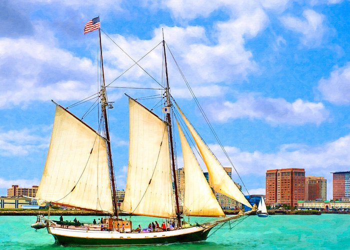 Boston Harbor Greeting Card featuring the photograph Classic Tall Ship In Boston Harbor by Mark E Tisdale