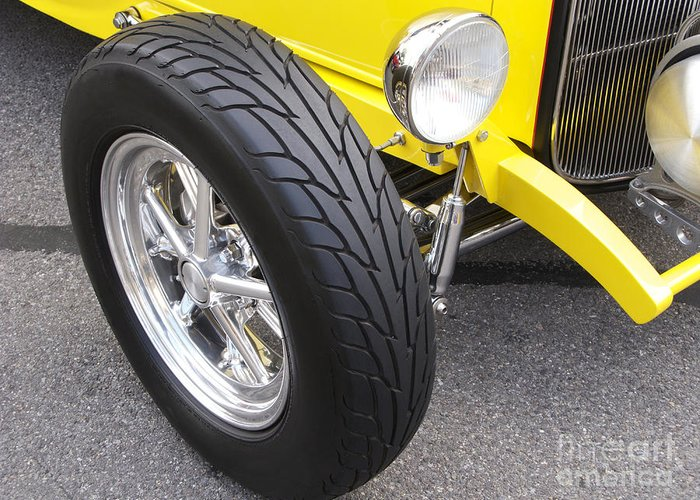 Classic Car Greeting Card featuring the photograph Classic Tire Tread by Ann Horn