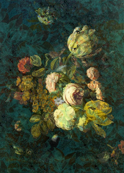 Flowers Digital Art Greeting Card featuring the painting Classical Bouquet - S04bt01 by Variance Collections