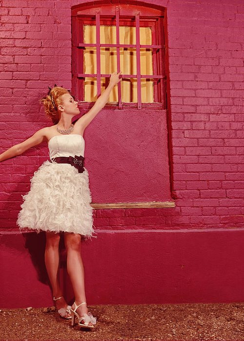 People Greeting Card featuring the photograph Classy Diva Standing In Front Of Pink Brick Wall by Kriss Russell