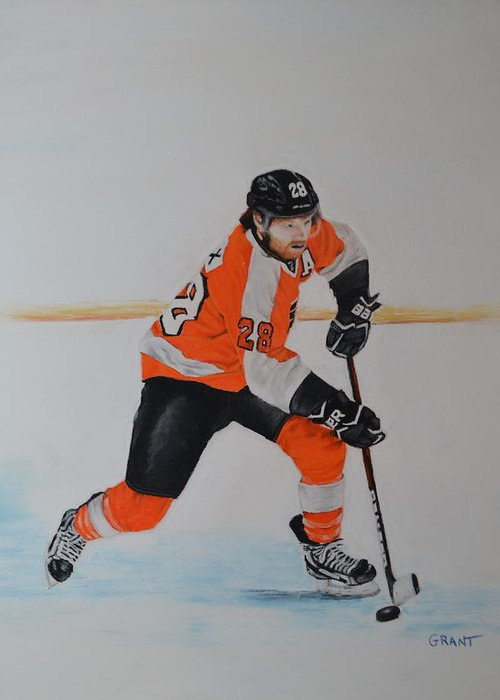 Art Greeting Card featuring the painting Claude Giroux Philadelphia Flyer by Joanne Grant