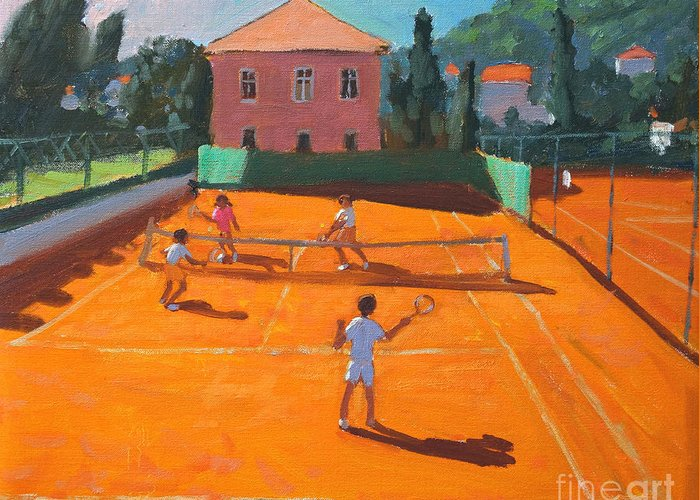 Tennis Greeting Card featuring the painting Clay Court Tennis by Andrew Macara