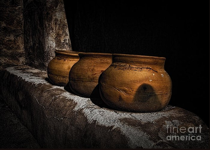 Fine Art Photography Greeting Card featuring the photograph Clay Pots ... by Chuck Caramella