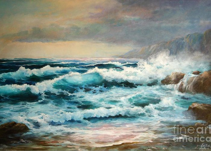 Seascape Greeting Card featuring the painting Clear Aqua Waters by Gail Salitui