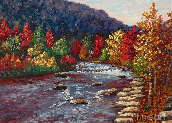 Landscape Greeting Card featuring the painting Clear Creek In Golden Colorado by Francesca Kee