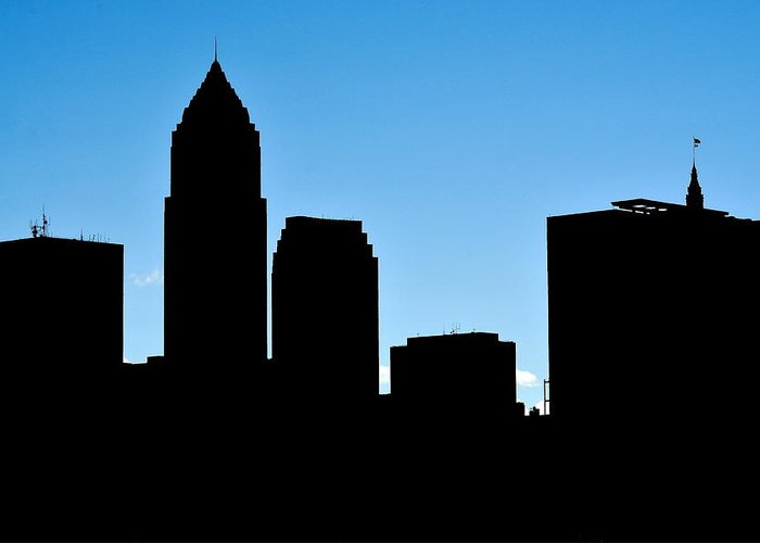 Cleveland Greeting Card featuring the photograph Cleveland In Silhouette by Frozen in Time Fine Art Photography