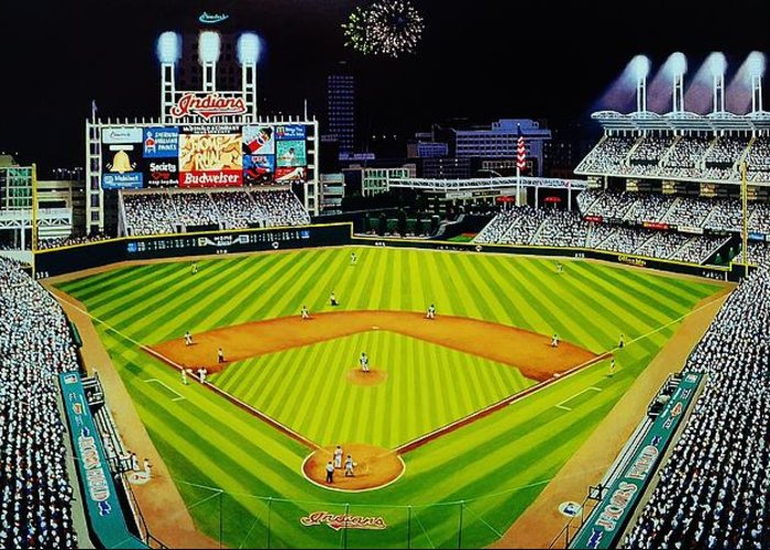 Cleveland Greeting Card featuring the painting Cleveland Jackobs Nocturn Fireworks by Thomas Kolendra