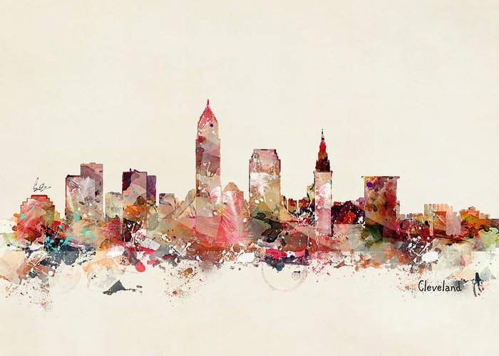 Cleveland Ohio Skyline Greeting Card featuring the painting Cleveland Ohio by Bri Buckley