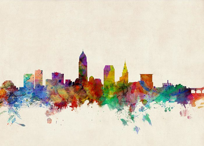 Cleveland Skyline Greeting Cards