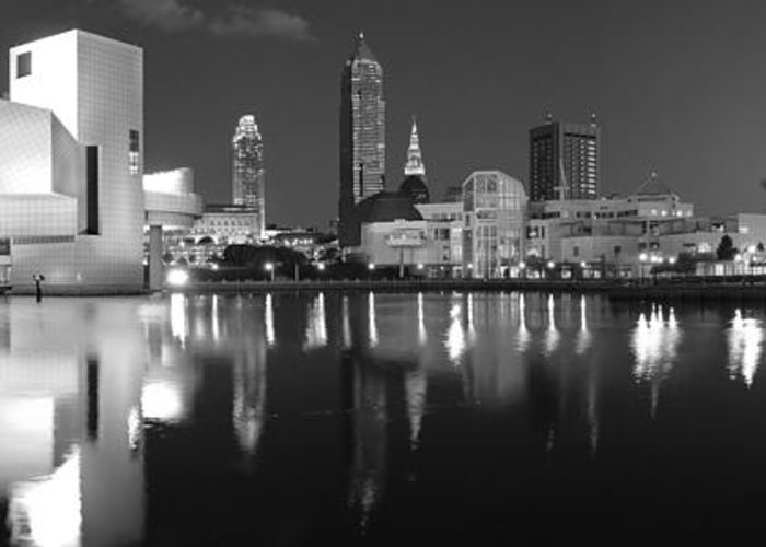 Cleveland Skyline Greeting Card featuring the photograph Cleveland Skyline At Dusk Black And White by Jon Holiday