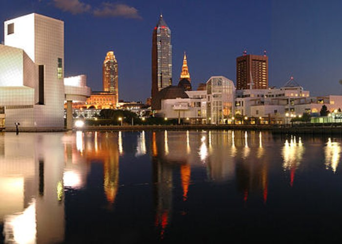 Cleveland Skyline Greeting Card featuring the photograph Cleveland Skyline At Dusk by Jon Holiday