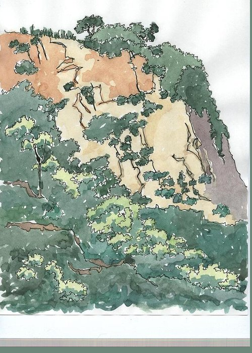 Landscape Greeting Card featuring the painting Cliff Above Will Rogers Beach by Ed Totten