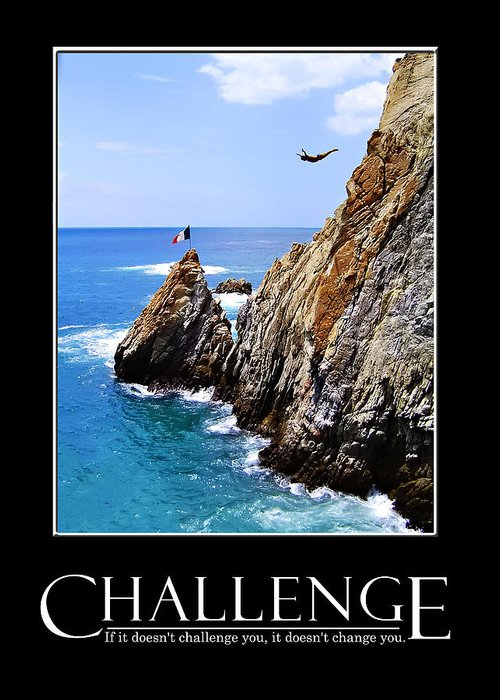 Acapulco Greeting Card featuring the photograph Cliff Divers Of Acapulco by Tanya Cordy