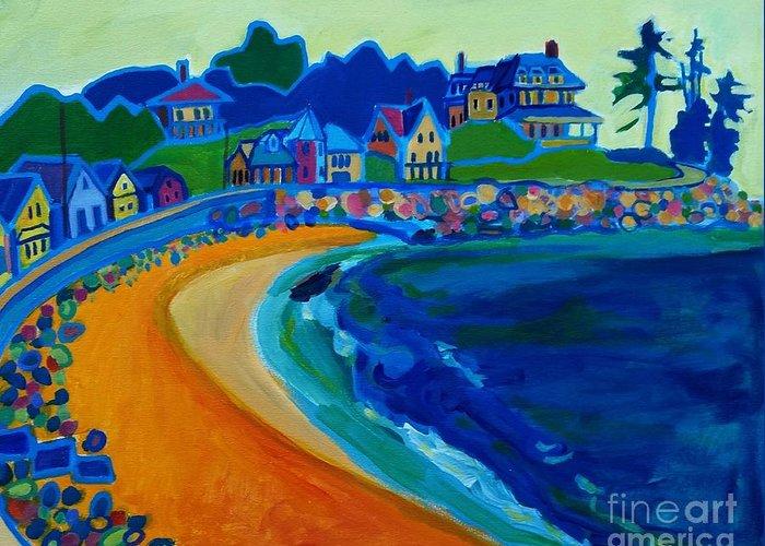 Beach Greeting Card featuring the painting Cliff House near Hampton Beach NH by Debra Bretton Robinson