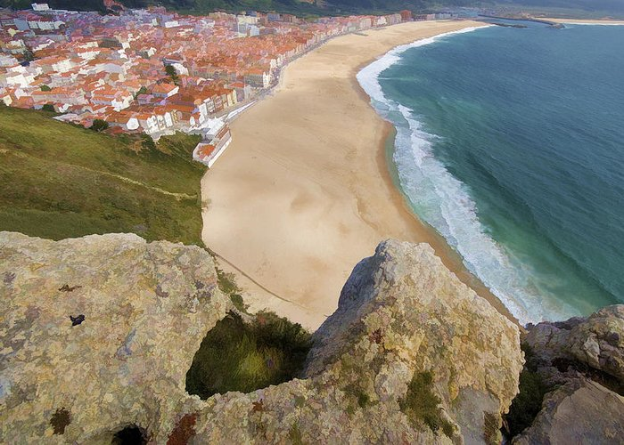 Beach Greeting Card featuring the photograph Cliff Of The Seaside Village Of Nazare by David Letts