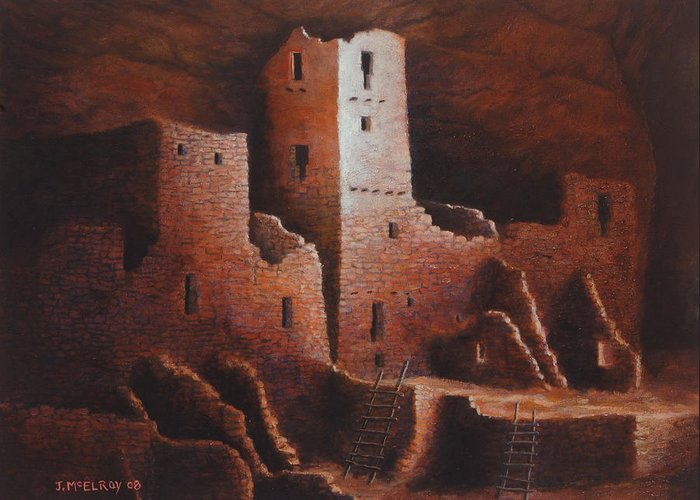 Anasazi Greeting Card featuring the painting Cliff Palace by Jerry McElroy