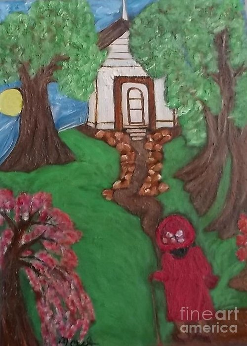 Black Lady Black Primitiveblack Art Mildred Chatman Folkart Louisiana Southerngenre Africanamerican Greeting Card featuring the painting Climbin 2 by Mildred Chatman