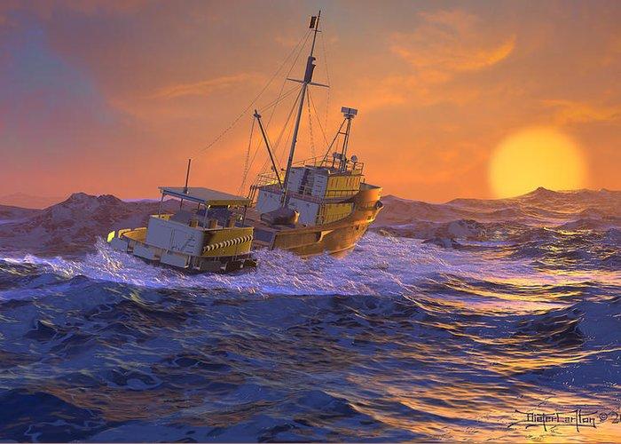 Dieter Carlton Greeting Card featuring the digital art Climbing The Sea by Dieter Carlton