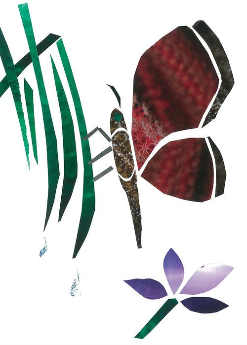 Butterfly Greeting Card featuring the mixed media Clinging Butterfly by Earl ContehMorgan