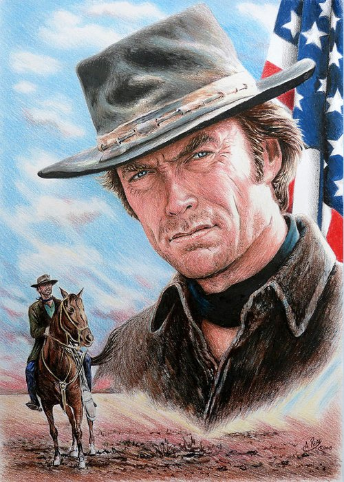 Clint Eastwood Greeting Card featuring the drawing Clint Eastwood American Legend by Andrew Read