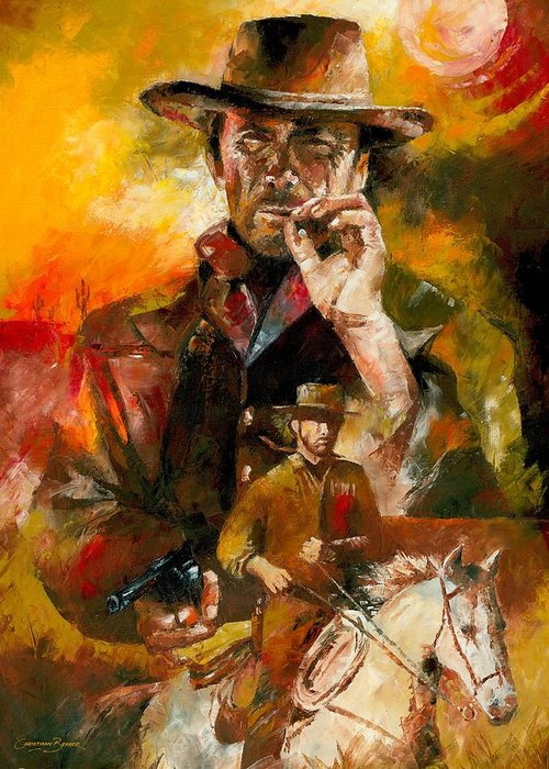 Western Greeting Card featuring the painting Clint Eastwood by Christiaan Bekker