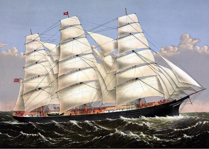Sailing Ship Mixed Media Greeting Cards