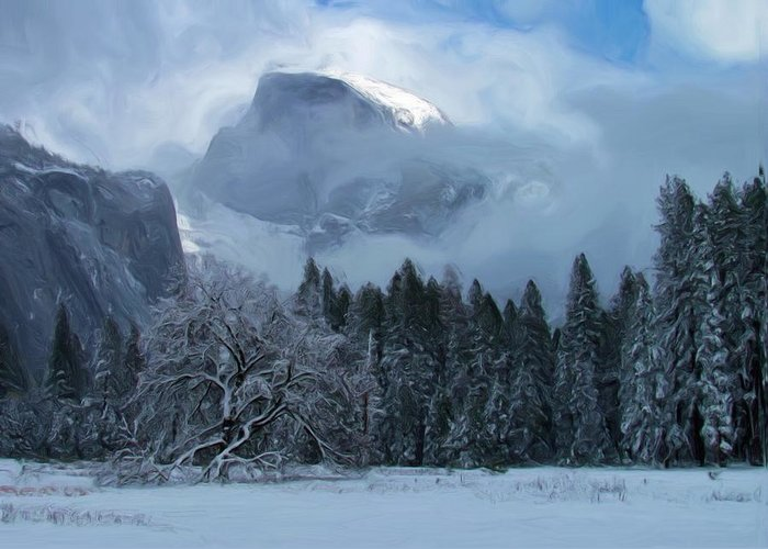 Half Dome Greeting Card featuring the photograph Cloaked In A Snow Storm by Heidi Smith