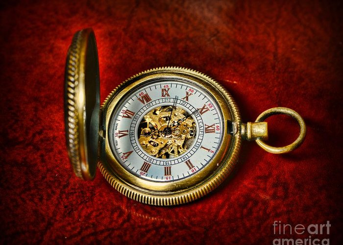 Paul Ward Greeting Card featuring the photograph Clock - The Pocket Watch by Paul Ward