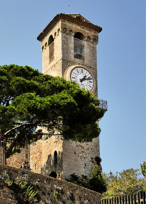 French Greeting Card featuring the photograph Clock Tower - Cannes - France by Christine Till