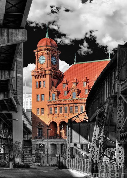 Main Street Station Greeting Card featuring the photograph Clock Tower by Tim Wilson