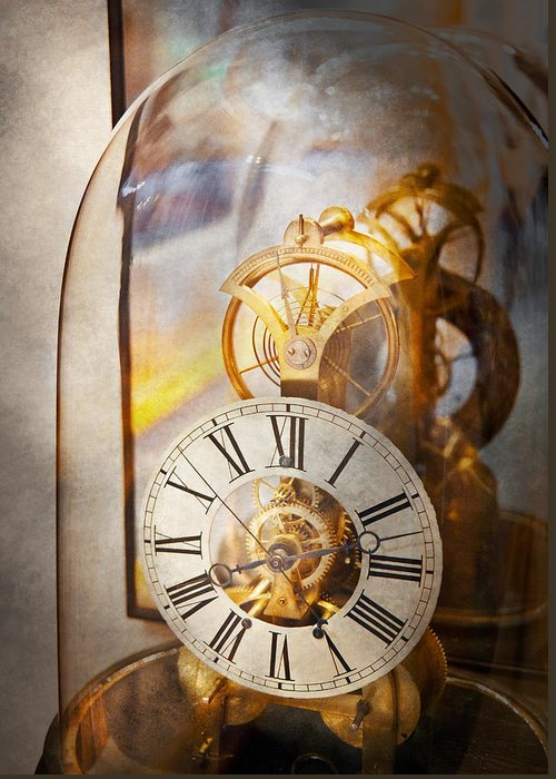 Clockmaker Greeting Card featuring the photograph Clockmaker - A Look Back In Time by Mike Savad