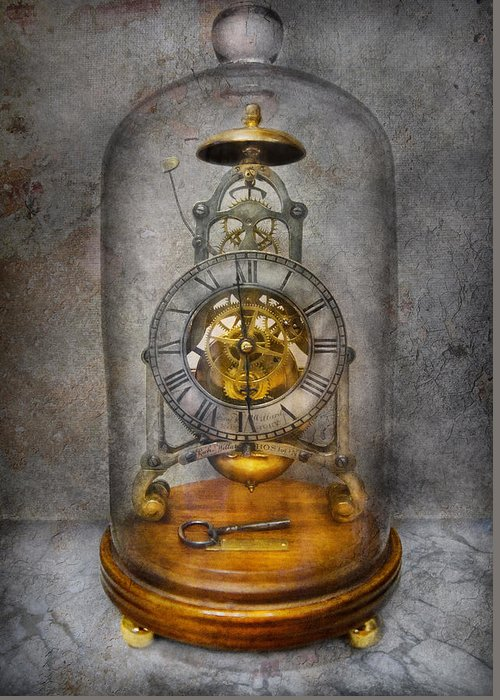 Clockmaker Greeting Card featuring the photograph Clocksmith - The Time Capsule by Mike Savad