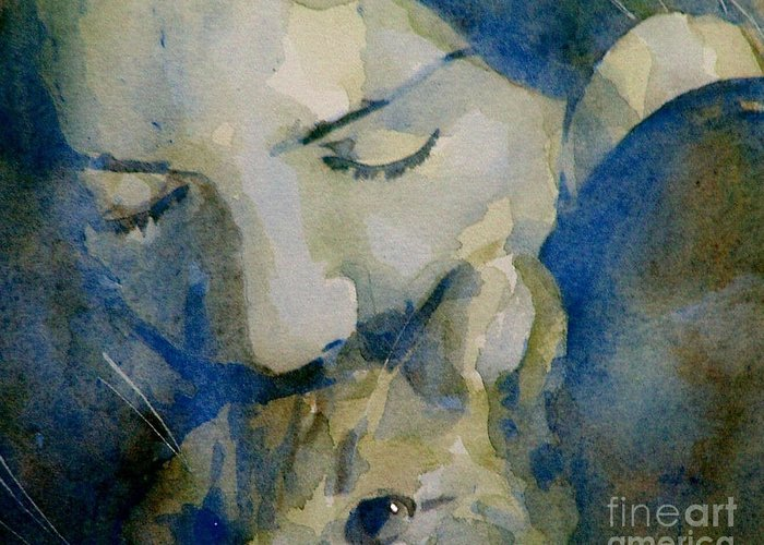 Cats Greeting Card featuring the painting Close My Eyes Lullaby Me To Sleep by Paul Lovering