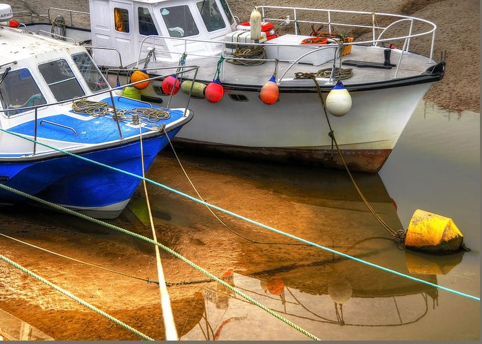 Anchored Greeting Card featuring the photograph Close Up Boats by Svetlana Sewell