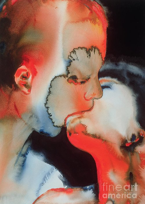 Close-up Kiss Greeting Card featuring the painting Close Up Kiss by Graham Dean