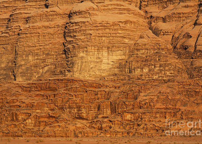Wadi Rum Greeting Card featuring the photograph Close Up Of A Rocky Outcrop At Wadi Rum In Jordan by Robert Preston