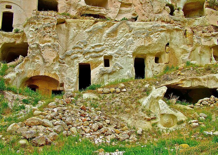 Close-up Of Tufa-carved Homes In Cappadocia Greeting Card featuring the photograph Close-up Of Tufa-carved Homes In Cappadocia-turkey by Ruth Hager