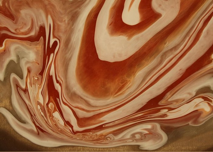 Pour Greeting Card featuring the painting Poured Agate Painting 8 Close-up One by Kirsten Gilmore