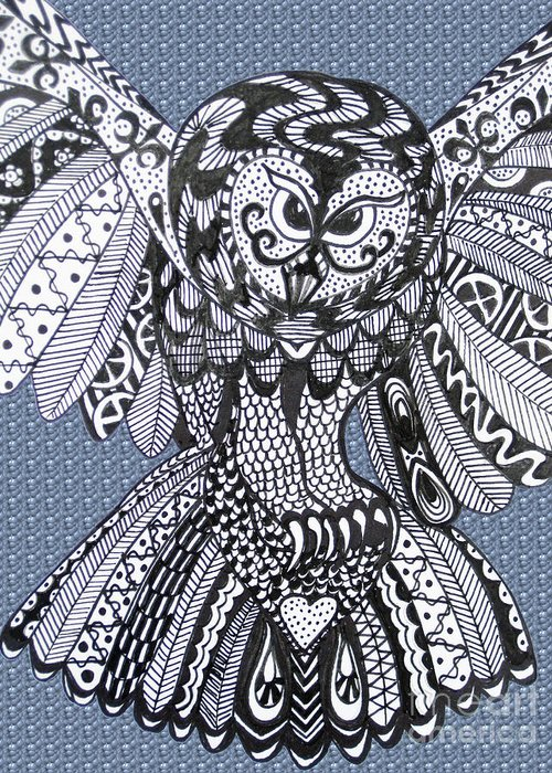 Owls Greeting Card featuring the drawing Close Up Owl Bubble by Karen Larter