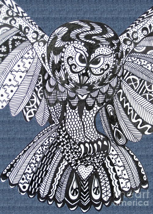 Owls Greeting Card featuring the drawing Close Up Owl Denim by Karen Larter
