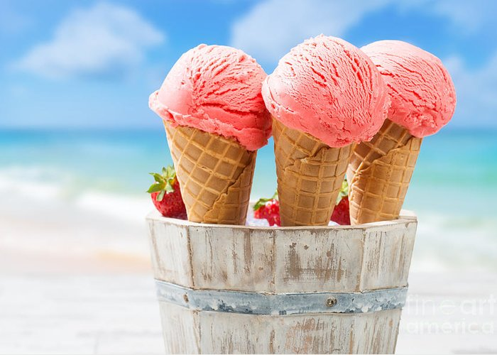 Strawberry Greeting Card featuring the photograph Close Up Strawberry Ice Creams by Amanda Elwell