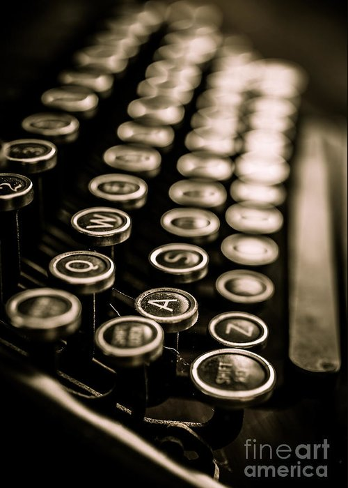 Type Greeting Card featuring the photograph Close Up Vintage Typewriter by Edward Fielding