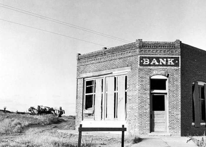 1936 Greeting Card featuring the photograph Closed Bank, 1936 by Granger
