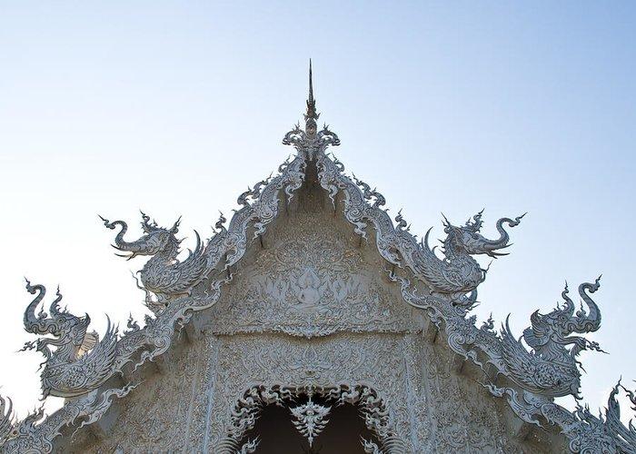 Chiang Rai Greeting Card featuring the photograph Closeup Of Gable Decoration Inin Wat Rong Khun In Chiang Rai Thailand by Ammar Mas-oo-di