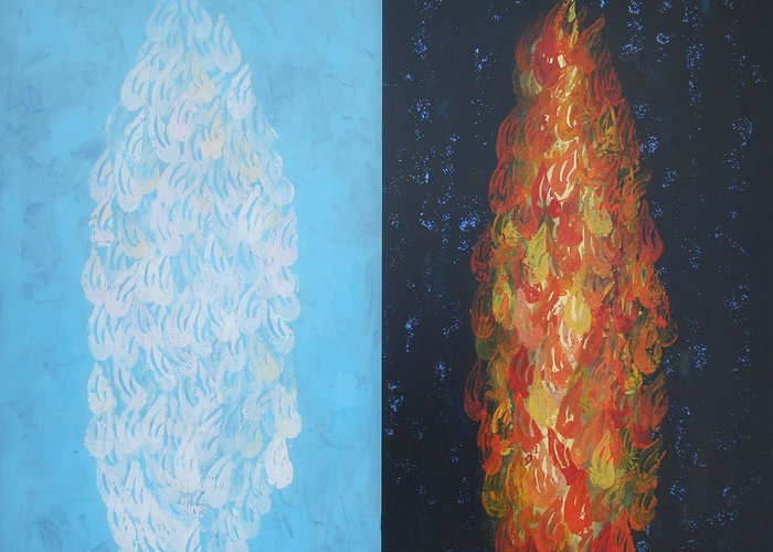 Biblical Greeting Card featuring the painting Cloud By Day Fire By Night by Mordecai Colodner