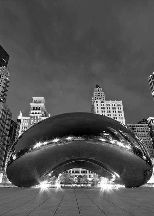 3scape Greeting Card featuring the photograph Cloud Gate And Skyline by Adam Romanowicz