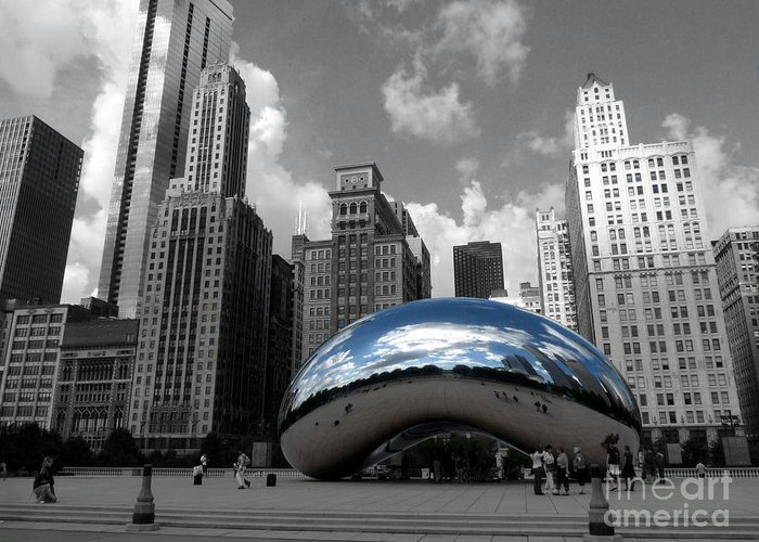 Chicago Greeting Card featuring the photograph Cloud Gate B-w Chicago by David Bearden