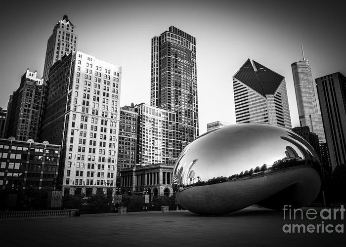 America Greeting Card featuring the photograph Cloud Gate Bean Chicago Skyline In Black And White by Paul Velgos