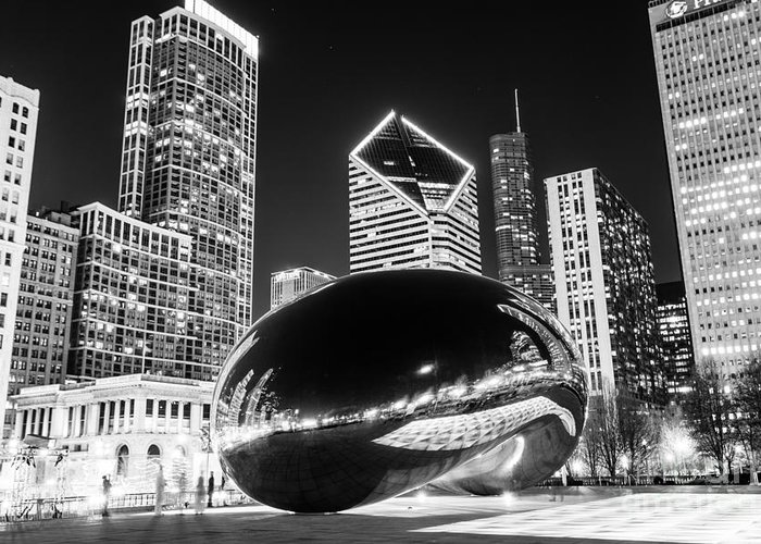 2012 Greeting Card featuring the photograph Cloud Gate Chicago Bean Black And White Picture by Paul Velgos