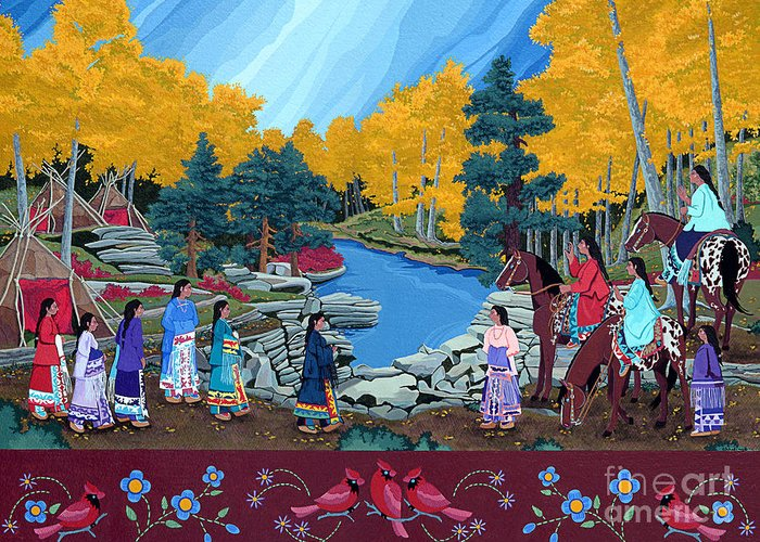 America Greeting Card featuring the painting Cloud Women at Thunderbird Mountain by Chholing Taha